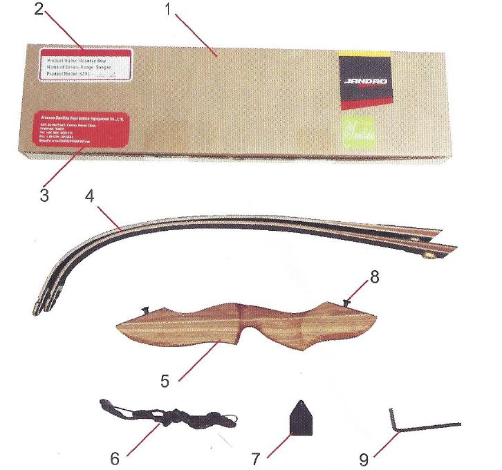 Hunting Bow take down 60 Zoll delivery contents